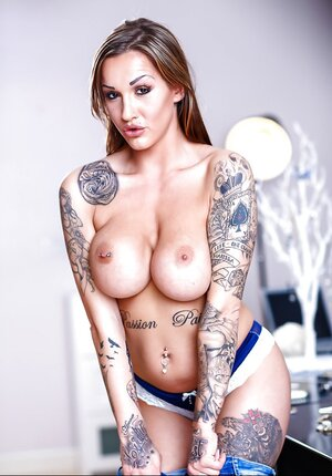 Mom i`d like to fuck in blue has tattooed body that must be showed off worldwide in Totally hardcore pics