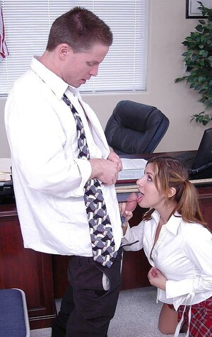Mexican Soccer mom Sativa Rose in a checkered skirt gives a dick sucking to boss