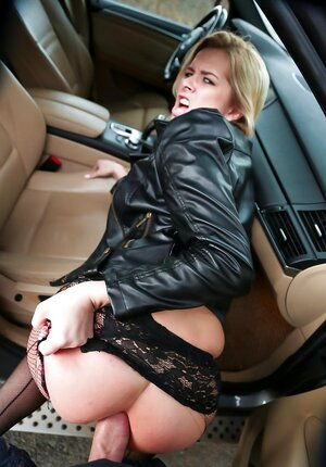 Floozy thanks driver by blowjob for a ride and plus dude tears pantyhose to analyze her