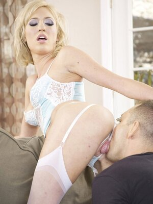 Underweight blonde in sexy underwear nicely penetrated with partner's fat manhood