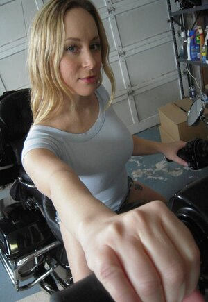 Hot dame with awesome natural boobs is addicted to bikes and cocksucking