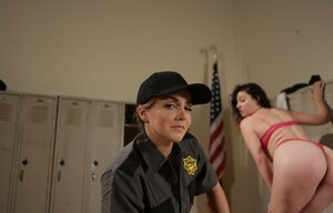 Prison warden Natasha Fine and inmate Sovereign Syre with big ass act as lesbians